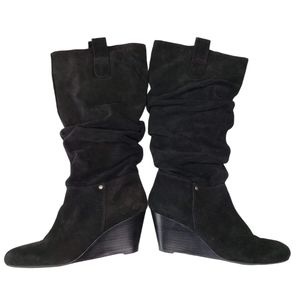 Arturo Chiang | Black Suede Leather Wedge Boots